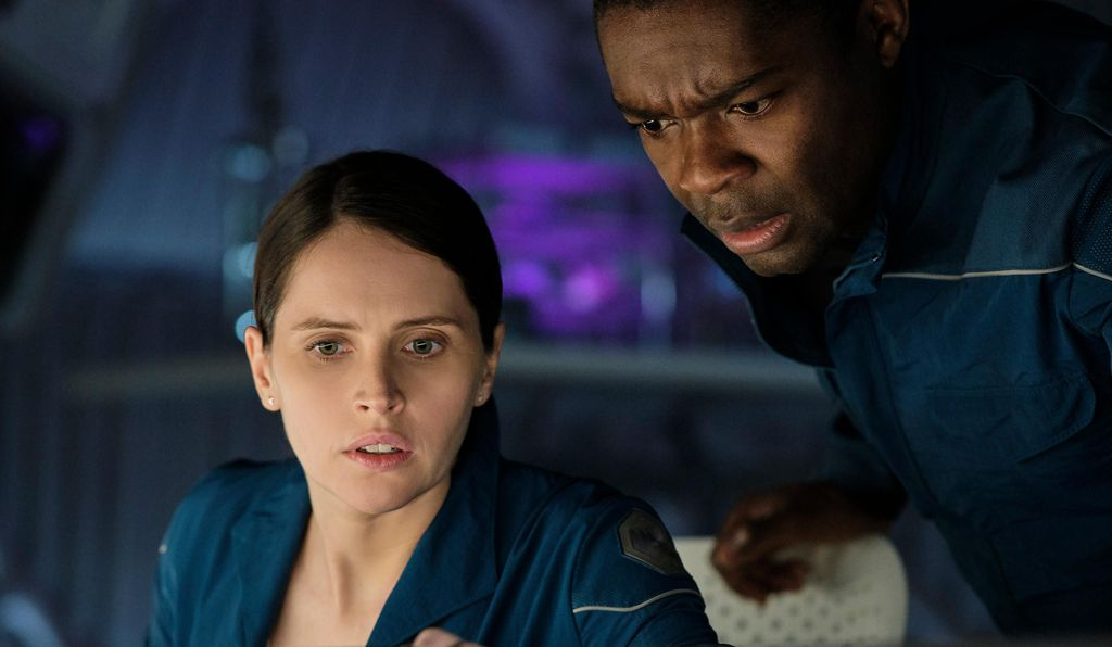 Felicity Jones and David Oyelowo play crewmembers of the exploration spacecraft <i> Aether</i>.